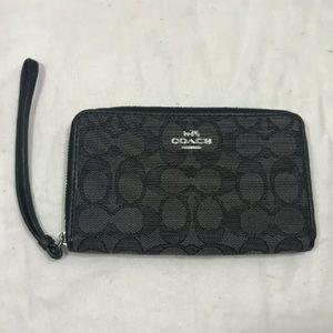 Coach Signature Gray Black Zip Wallet Wristlet
